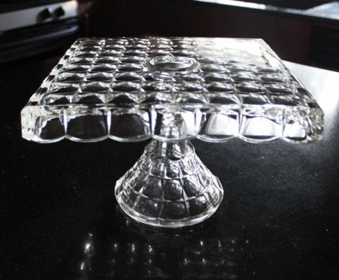 Indiana Glass Co Cake Stand Square Intaglio