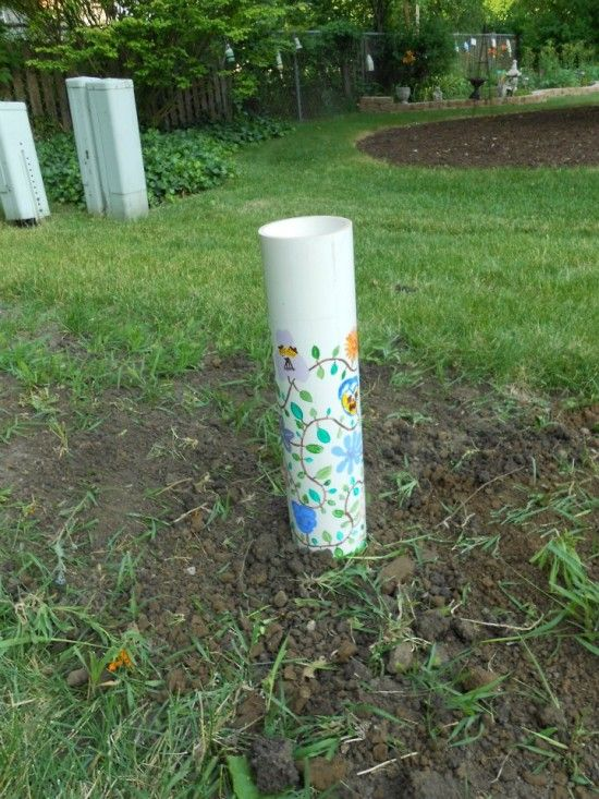 Worm Composting - A three-foot section of PVC pipe is installed in the garden. Food scraps are put into the tube, and then worm castings (feces) act as the composting agent. The worms crawl into the tube via drilled holes, eat the food, and then spread the compost in a four-foot diameter as they go.