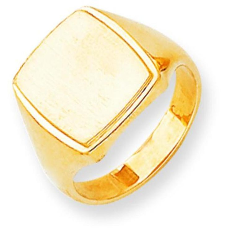 14K Yellow Gold Mens Signet Ring Jewelry Size 10. Style- Engravable, Solid Back. Metal- 14K Yellow Gold. Origin- United States. Stamped- 14K. Solid/hollow- Solid.