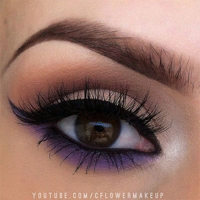neutral-smokey-eye-makeup-purple-pop-of-color
