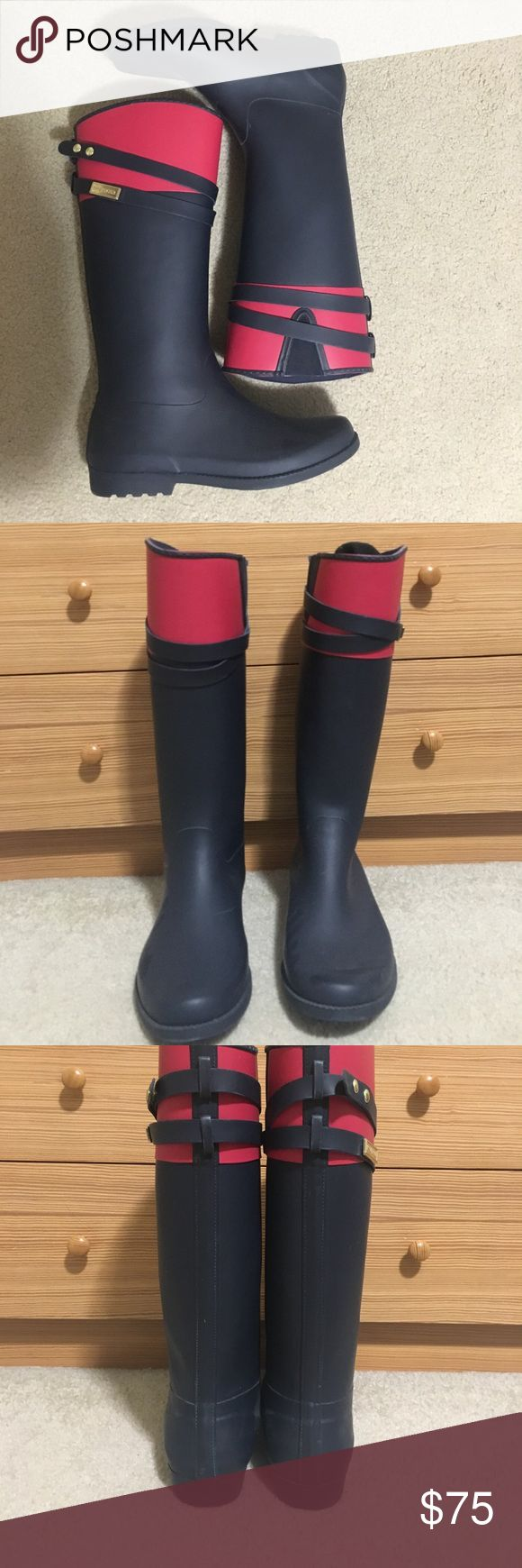 Tommy Hilfiger Rain Boots Tommy Hilfiger blue and red rain boots with gold hardware. Only worn 2X. In great condition. Tommy Hilfiger Shoes Winter & Rain Boots