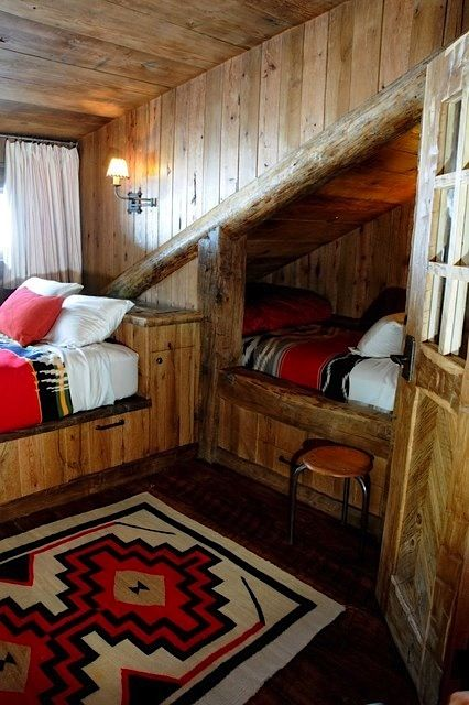 log cabin style bunk room for kids
