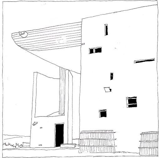 Le Corbusier, Chapelle Notre-Dame-du-Haut de Ronchamp, Haute-Saône, France | drawn by Riccardo Salvi