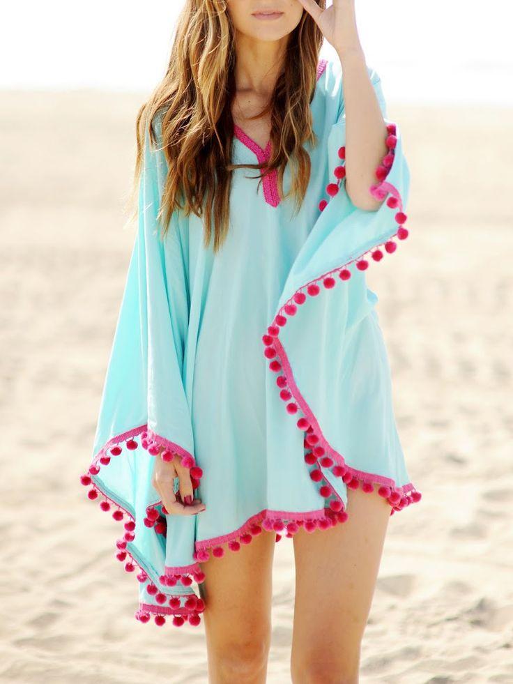 Blue Oversize Pom Pom Cloak Chiffon Dress