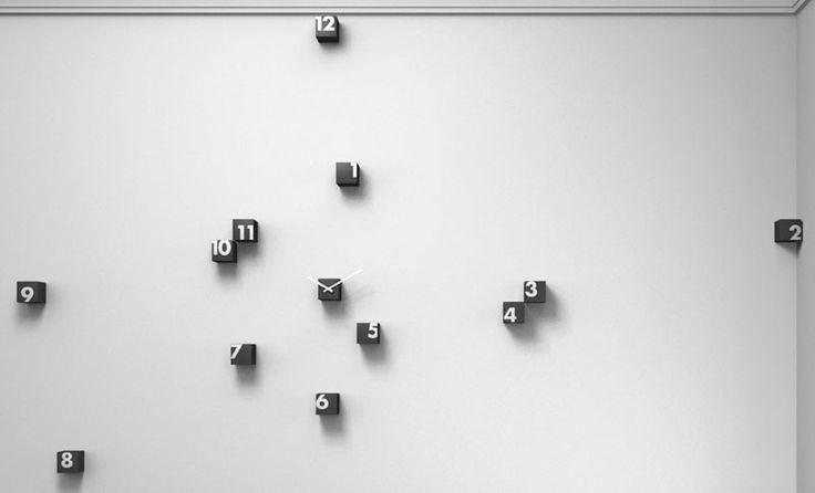Orologio parete RND Time 2 composto da piccoli cubi posizionabile random sul muro Nero