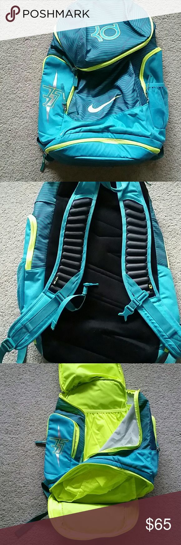 NIKE KD BACKPACK NIKE KD BACKPACK  Lightly used - still amazing condition  All zippers work Buckle across chest works Air pocket straps Teal/neon yellow  Pockets:  Large main with laptop pocket Bottom shoe Side cooler (great for water bottle)  Side (some pencil markings inside)  Top mini Nike Bags Backpacks