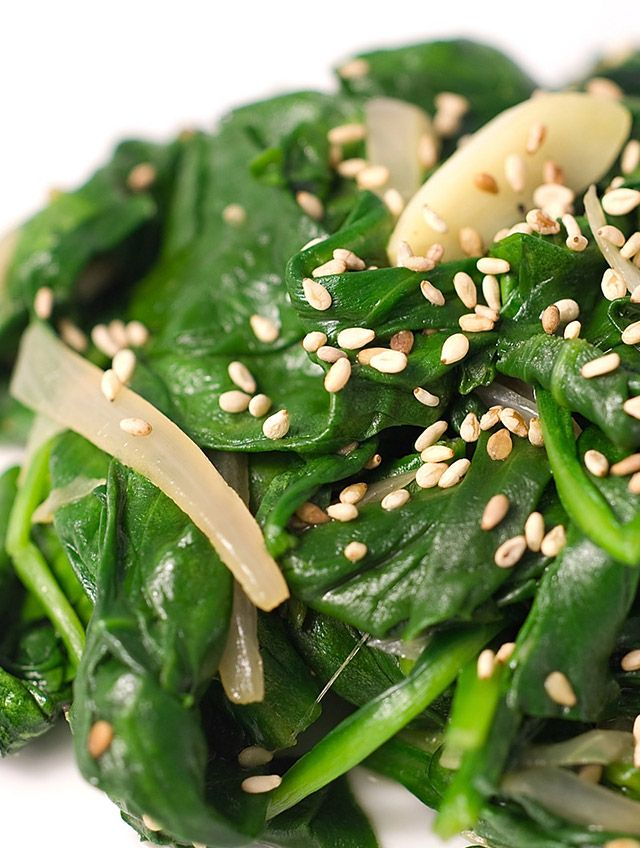 More like this: sauteed spinach , sesame and seeds .