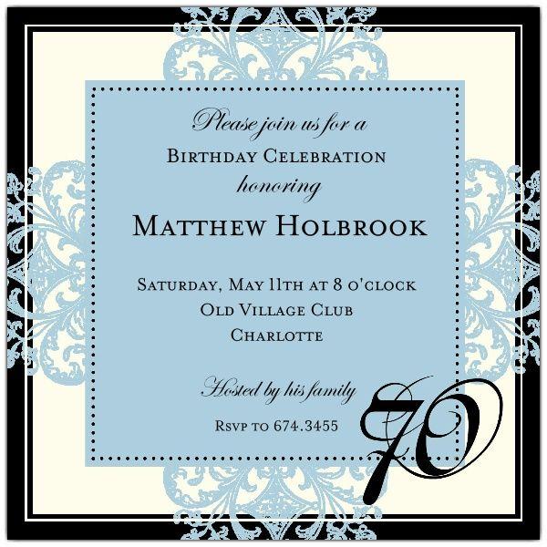 """Decorative Square Border Blue 70th Birthday Invitations  SIZE: 5.25"""" x 5.25"""""""