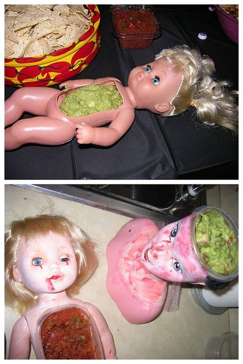 The Creepiest Halloween Serving Dishes Ever. 2 step tutorial on Instructables here. For a really creepy doll nightlight go here.