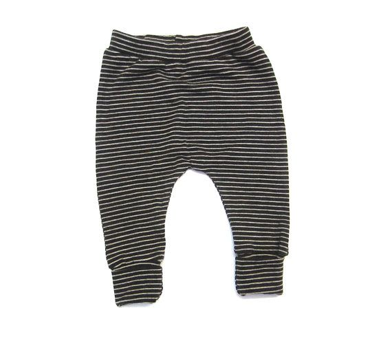 Baby merino wool pants in a dark cocoa brown with a fine cream stripe.  Gently elasticised waist, minimal seams, cute curvy baby shape, and double