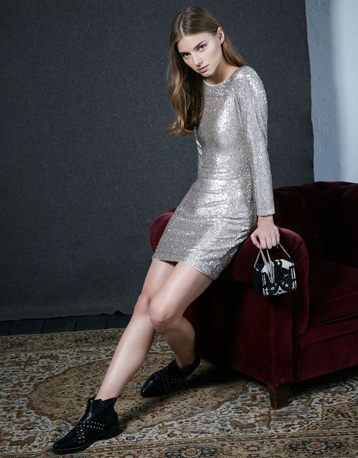 Long sleeve sequinned dress - #PARTY #NIGHT COLLECTION - Bershka United Arab Emirates