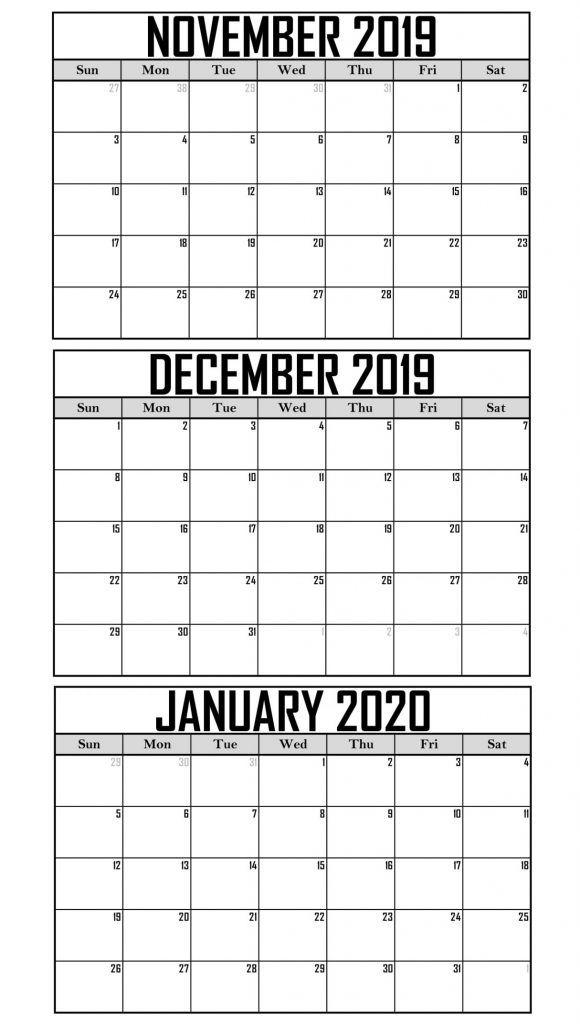 November December January 2020 Calendar Printable Pdf Word Excel