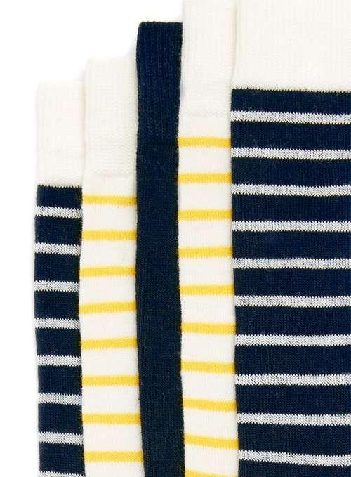 Navy and Yellow Stripe Socks 5 Pack - Men's Underwear & Socks - Clothing - TOPMAN