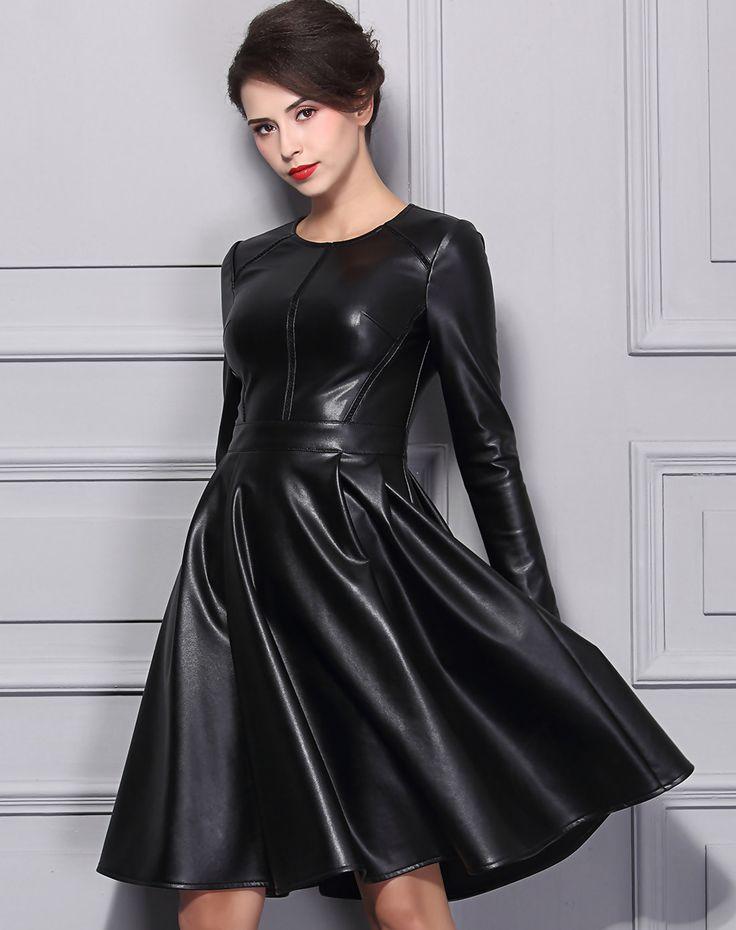 #AdoreWe #VIPme Skater Dresses - BAOYAN Black Crewneck Cut-out PU Midi Skater Dress - AdoreWe.com