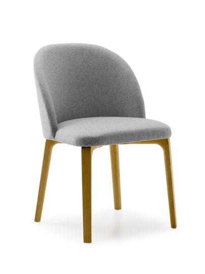 Stuhl Belmont ohne Armlehne 54x60/45x83/48 cm, mit Bezug Wollstoff Tartini Kiesel/ Eiche | Grüne Erde