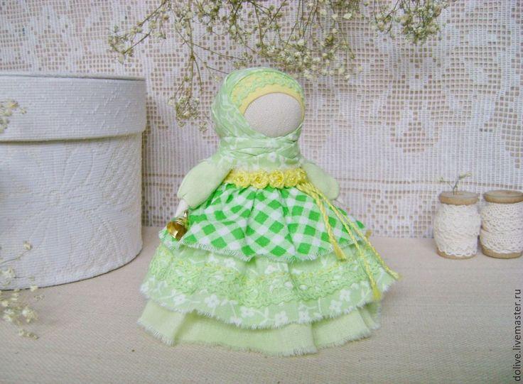 """Купить Куколка """"Колокольчик"""" - салатовый, зеленый, обережная кукла, народная кукла, традиционная кукла"""
