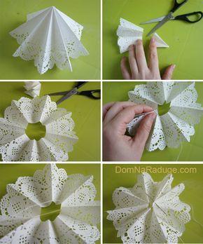 как сделать снежинку из ажурной бумажной салфетки