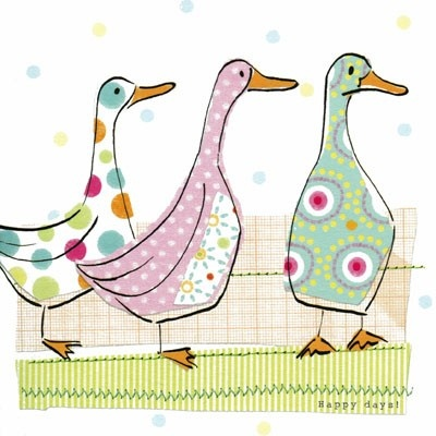 Three collage style ducks in beautiful pastel colours
