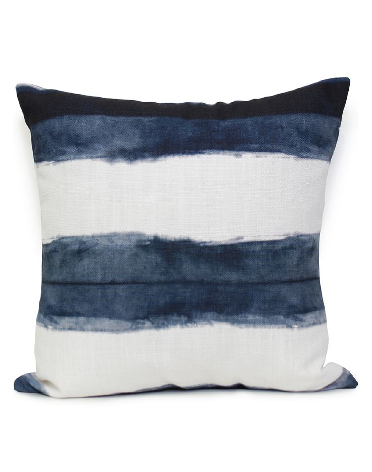 """Overview Shibori Stripe has been lovingly hand dyed recreating the ancient Japanese technique of Shibori, then digitally printed by Sparkk. Measurements • 19.7""""x19.7"""", cushion cover WITHOUT insert Add"""