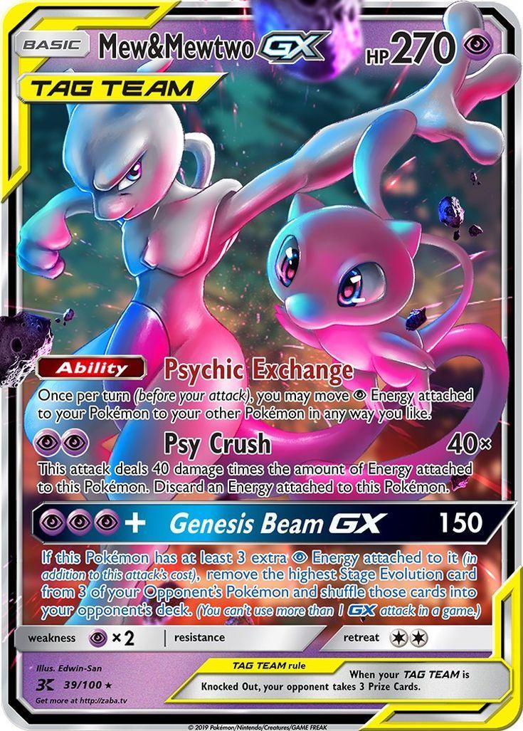 Mew Mewtwo Gx Tag Team Custom Pokemon Card Pokemon Cards Legendary Cool Pokemon Cards Mew And Mewtwo
