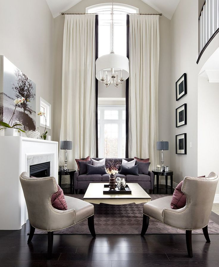 Fabulous contemporary living room with transitional style Sizing It Down: How to Decorate a Home with High Ceilings