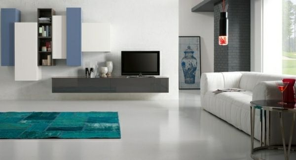 Meuble Tv Suspendu Tapis Turquoise Salon Moderne Meubles De Salon Modernes Mobilier De Salon Meuble Salon