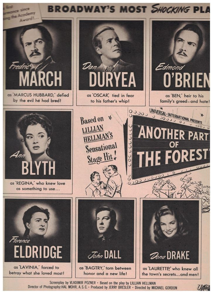 1948 Another Part of the Forest Movie Ad Fredric March Dan Duryea Edmond Obrien