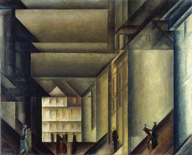 Hinter der Stadtkirche . 1916 . Oil on canvas . 73.5 x 90cm . Lyonel Feininger