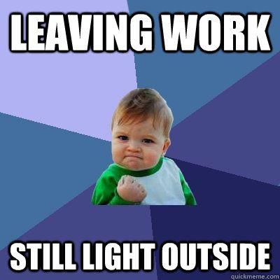 Success Kid - leaving work still light outside