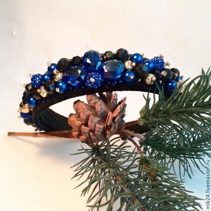"""Купить Ободок ручной работы """"Синий кристал"""" - тёмно-синий, ободок для волос, ободок с цветами"""