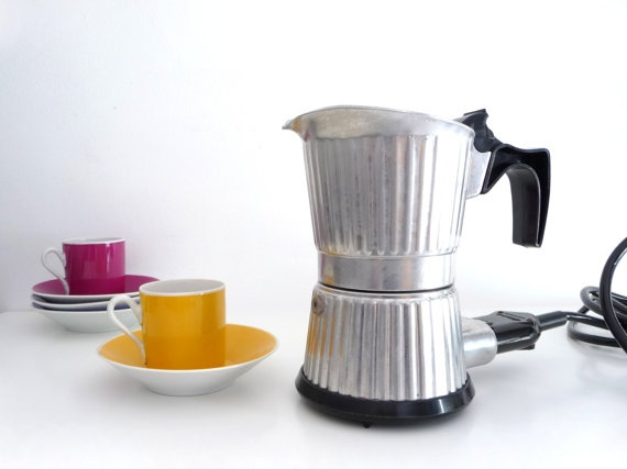 Electric Coffee Maker Invented : RESERVED - Vintage Electric Coffee Maker Percolator - Italian Coffe Pot - 1970s - 6 cup - made ...