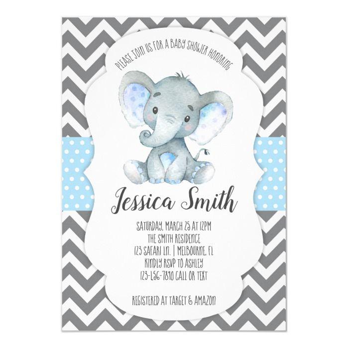 Elephant Baby Shower Invitation aquarelle éléphant personnalisé Baby Girl invite