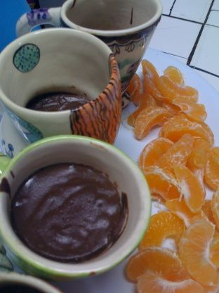 Adapted from fatfreevegan.com, this is a simple recipe to satisfy chocolate cravings. I like to stir some sliced banana in, or try replacing the vanilla essence with mint, coconut, almond or orange essence.