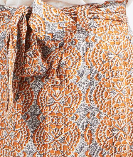 Jupe mi-longue imprimée ceinturée - BAMAKO - ORANGE - ETAM_FR