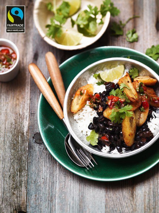 zwarte bonen met rijst, banaan en salsa | ZTRDG magazine #maxhavelaar #fairtrade