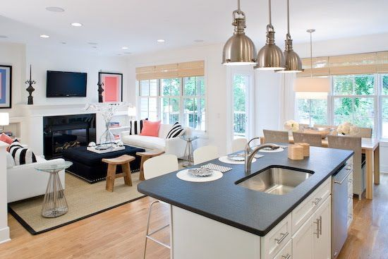 small open kitchen floor plans - i like the fireplace at the end