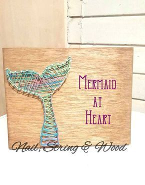 Mermaid Tail String Art Sign Mermaid String Art Mermaid Girl