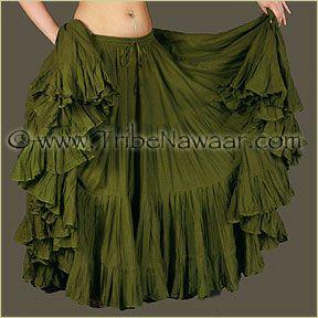 Tribe Nawaar's 25 Yard Olive Green Cupcake Skirt