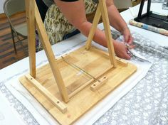 Diary of a Quilter - a quilt blog - making a portable ironing board out of a wooden TV tray.