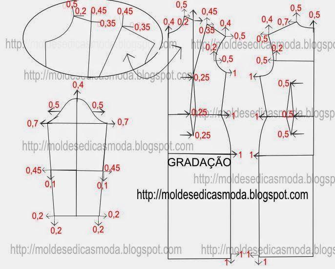 GradaçãO De Base De Vestido.Aqui o objetivoé graduar o molde base tamanho 38 em 40. Mas com este método podemos construir todos os tamanhos. Este processo é o mais utilizado porque é o mais simples. Nele prevê-se uma variação constante entre tamanhos, porque quer em comprimento quer em altura, quanto maior for o tamanho, maiores são as medidas de perímetros e maiores são as medidas de comprimentos. Neste método tem que esquadrar e levar a linha do molde para o ponto que pretende.