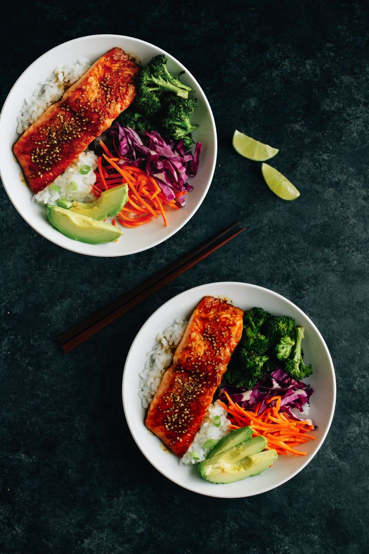 These Teriyaki Salmon Bowls come together quickly for a healthy and delicious weeknight meal. Bake the salmon and broccoli together, then serve in a bowl with rice, veggies and creamy avocado.