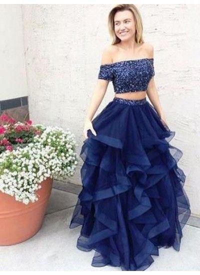 Lange Two Piece Abiballkleider Abendkleider Dunkelmarineblau Carmen
