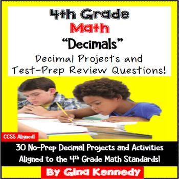 No-prep, 4th Grade decimals practice with 30 enrichment projects and 30 review test-prep questions aligned to the decimal math standards. Great for teaching the important decimal standards in a fun, engaging way. Excellent for early finishers, advanced math students or