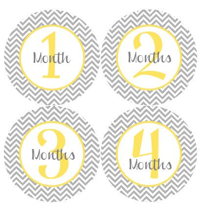 Baby Month by Month Stickers - Gender Neutral Baby Monthly Stickers - Grey and Yellow Chevron Month Stickers - Jamie on Etsy, $9.00