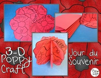 Remembrance Day craft in French ~ Jour du Souvenir. Mark this special day by creating 3-D poppies.