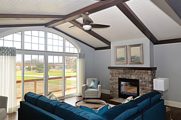 tongue and groove ceiling with decorative beams