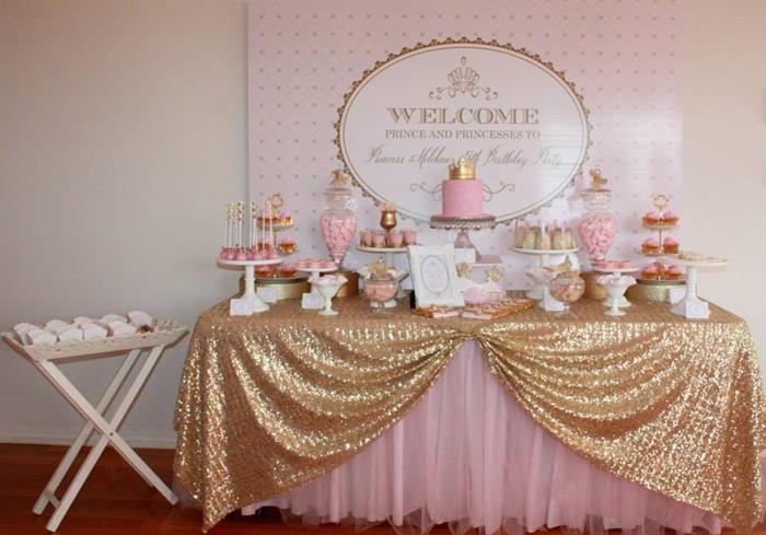 Pink Gold Royal Princess Party Planning Ideas Supplies Idea Cake Decor