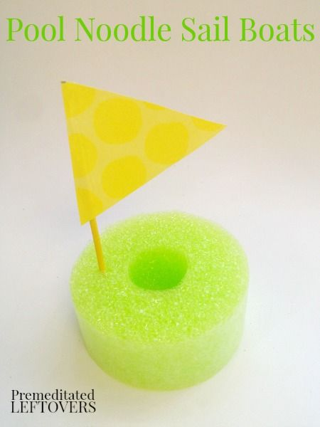 Pool Noodle Sail Boats - a frugal craft for kids using pool noodles