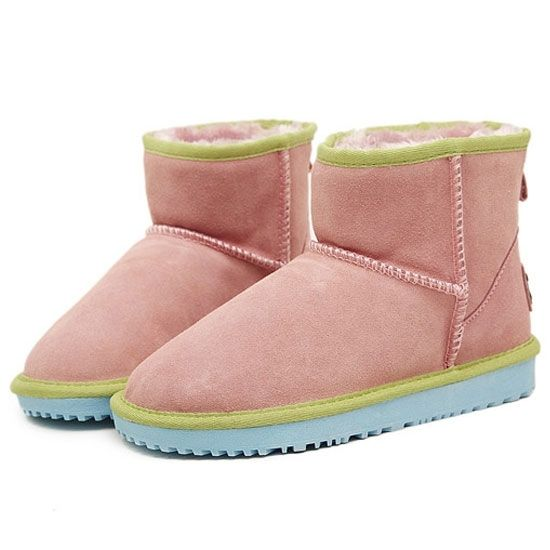 Candy Contrast Color Flat Snow Boot Flat Boots from fashionmia.com