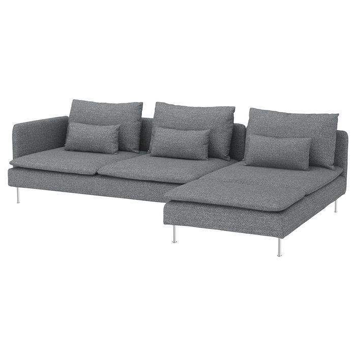 Soderhamn 4er Sofa Mit Recamiere Offenes Ende Lejde Grau Schwarz Ikea Deutschland Soderhamn Sofa Recamiere Sofa
